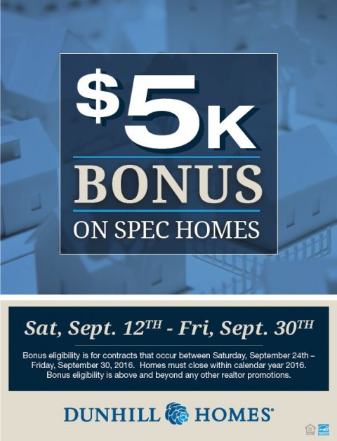 Sell Any Quick Move-In Homes for a $5,000 Bonus*!