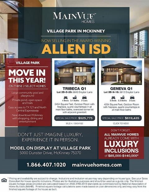 Move-In By End Of Year At Village Park In McKinney! Allen ISD